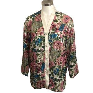 Vintage Victoria's Secret Pajama Top Sheer Floral
